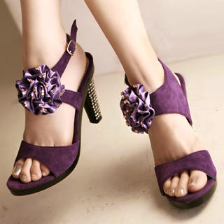 "Buy Kvoll Genuine Suede Rhinestone ""Corsage"" Sandals 1022653564"