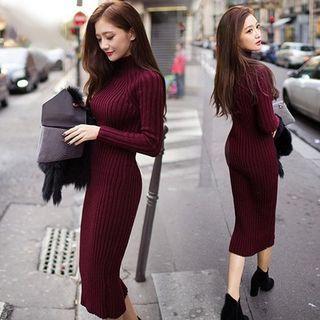 Ribbed Mock Neck Sweater Dress 1055382139