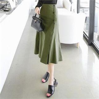 Band-Waist Buttoned Long A-Line Skirt 1061722394