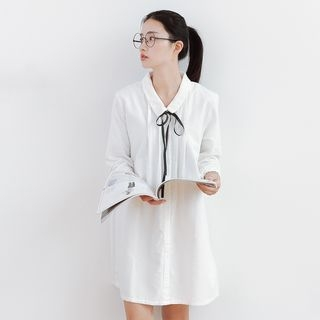 Ribbed Long-Sleeve Shirtdress 1054290671