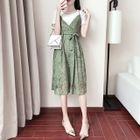 Set: Short-Sleeve T-Shirt + Lace Strappy Dress 1596