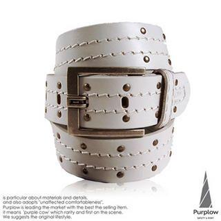 Buy Purplow Metal Studded Genuine Leather Belt 1004802278