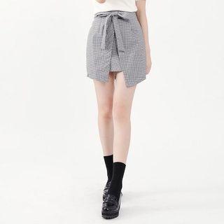 Tie-Waist Plaid Skirt