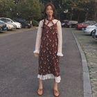 Set: Long-Sleeve Sheer A-line Midi Dress + Floral Strappy Midi Dress 1596