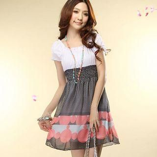 Buy Tokyo Fashion Mock Two-Piece Dotted Chiffon Dress 1022732124