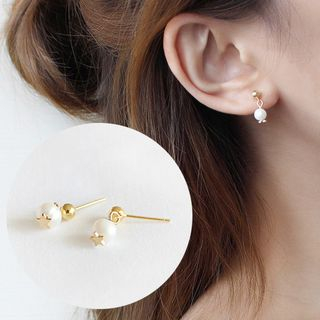 Image of 925 Sterling Silver Faux Pearl Earring