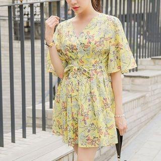 Inset Shorts Tie-Waist Floral Mini Dress 1060688835