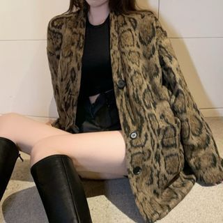 Leopard Printed Button Jacket As Shown In Figure - One Size