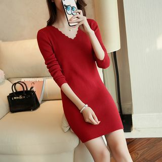 V-Neck Ribbed Knit Long Sleeve Dress 1053870620