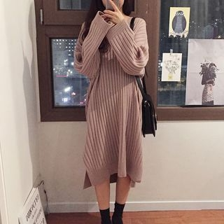 V-Neck Ribbed Sweater Dress 1062263715