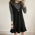 Set : Stripe Long-Sleeve T-shirt + Sleeveless Dress 1596