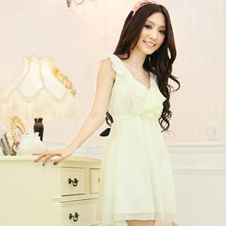 Buy Tokyo Fashion Sleeveless Tie-Back Ruffle Chiffon Dress 1022972696