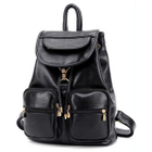 Faux-Leather Drawstring Flap Backpack 1596