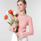 Contrast Trim Ribbed Knit Top 1596
