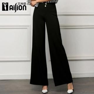 Buttoned Boot-Cut Pants
