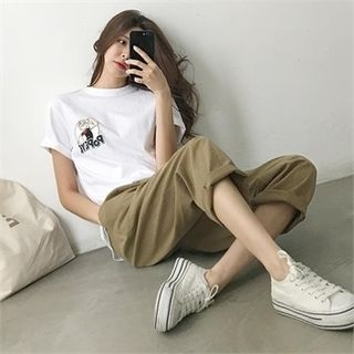 Image For Linen Blend Loose-Fit Pants