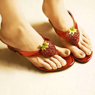 "Buy Kvoll Rhinestone ""Strawberry"" Wedge Sandals 1022747424"