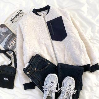 Two Tone Fleece Zipped Jacket White & Black - One Size