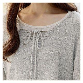Drop-Shoulder Lace-Up Knit Top 1056661017