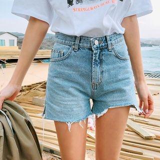 Distressed Washed Denim Shorts 1065497735
