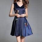 Butterfly Applique Sleeveless A-Line Dress 1596