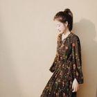 Long-Sleeve Printed Chiffon Dress 1596