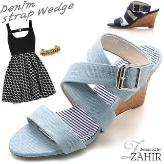 Buy ZAHIR Denim Strappy Wedge Sandals 1022866678