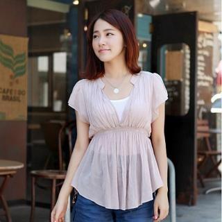 Buy misskongc Mandarin-Collar Smocked Top 1023066715
