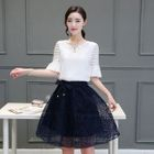 Set: Ruffled Chiffon Blouse + A-Line Skirt 1596