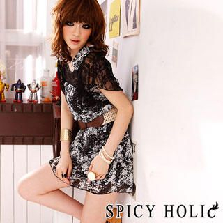 Buy SPICY HOLIC Lace Pattern Chiffon Dress Black – One Size 1022787862