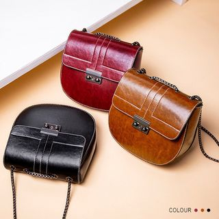 Image of Chain Strap Circle Faux Leather Crossbody Bag