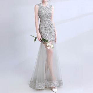 Sleeveless Sheer Panel Lace Evening Gown 1064966715