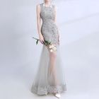 Sleeveless Sheer Panel Lace Evening Gown 1596