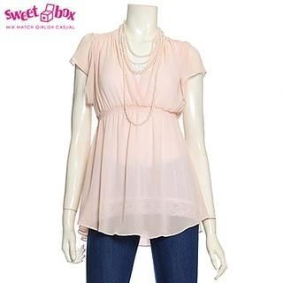 Buy Sweetbox Short-Sleeve A-Line Chiffon Blouse 1022992527