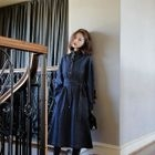 Long-Sleeve Denim Tie-Waist Dress 1596