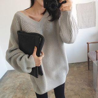 Ribbed V-Neck Sweater 1061514481