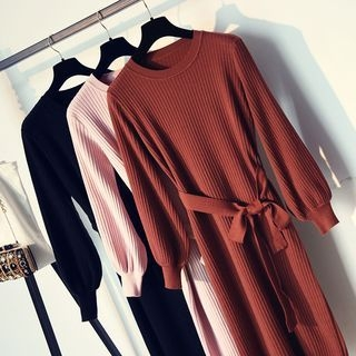 Ribbed Long-Sleeve Knit Dress 1063080872