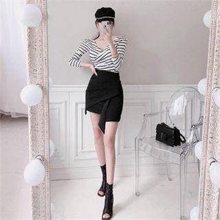 Babi n Pumkin Asymmetric-Hem Shirred Mini Skirt