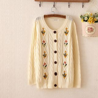Embroidered Ribbed Cardigan 1045255588
