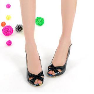 Buy KAWO Floral Patent Peep-Toe Wedges 1022900117