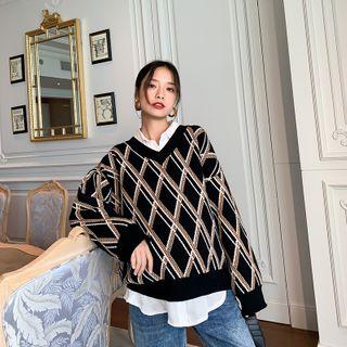 Image of Maternity Argyle Sweater