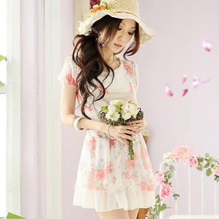 Buy Tokyo Fashion Short-Sleeve Floral Chiffon Wrap Dress 1022897950