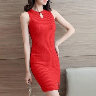 Keyhole Front Ribbed Bodycon Dress 1057998314