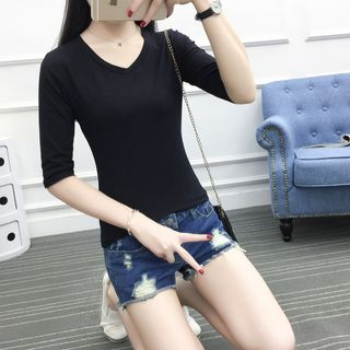 V-Neck Elbow-Sleeve T-Shirt 1061532555
