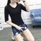 V-Neck Elbow-Sleeve T-Shirt 1596