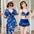 Set: Floral Bikini Top + Swim Skirt + Cover 1596