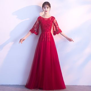Image of Bell Sleeve Lace Evening Gown