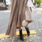 Band-Waist Pleated Long Skirt 1596