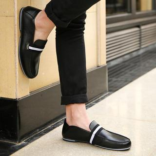 Faux-Leather Striped-Trim Loafers