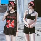 Set: Lettering Bikini Top + Swim Shorts + Tank Top 1596